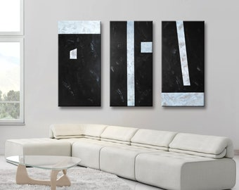 """Set of 3 Original Abstract Acrylic Painting 72x48"""" Extra Large Wall Art Home Decor TRIPTYCH Black Gray White Brown Cappuccino"""