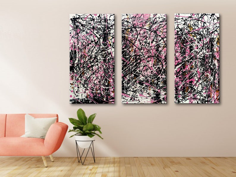 72x48 Set of 3 Abstract Painting Jackson Pollock Style image 0