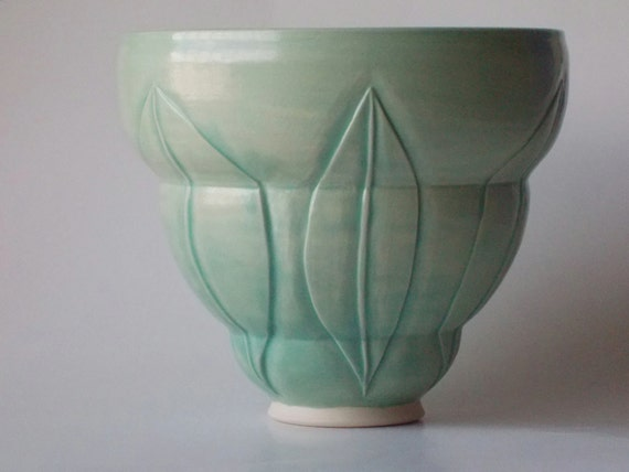 Tall Turquoise Beehive Carved Foliage Bowl