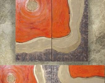 d007d6dfeb9d20 orange gold rusty metal Abstract Painting vertical textured wall art A113  Acrylic Original Contemporary Art KSAVERA mid century modern art