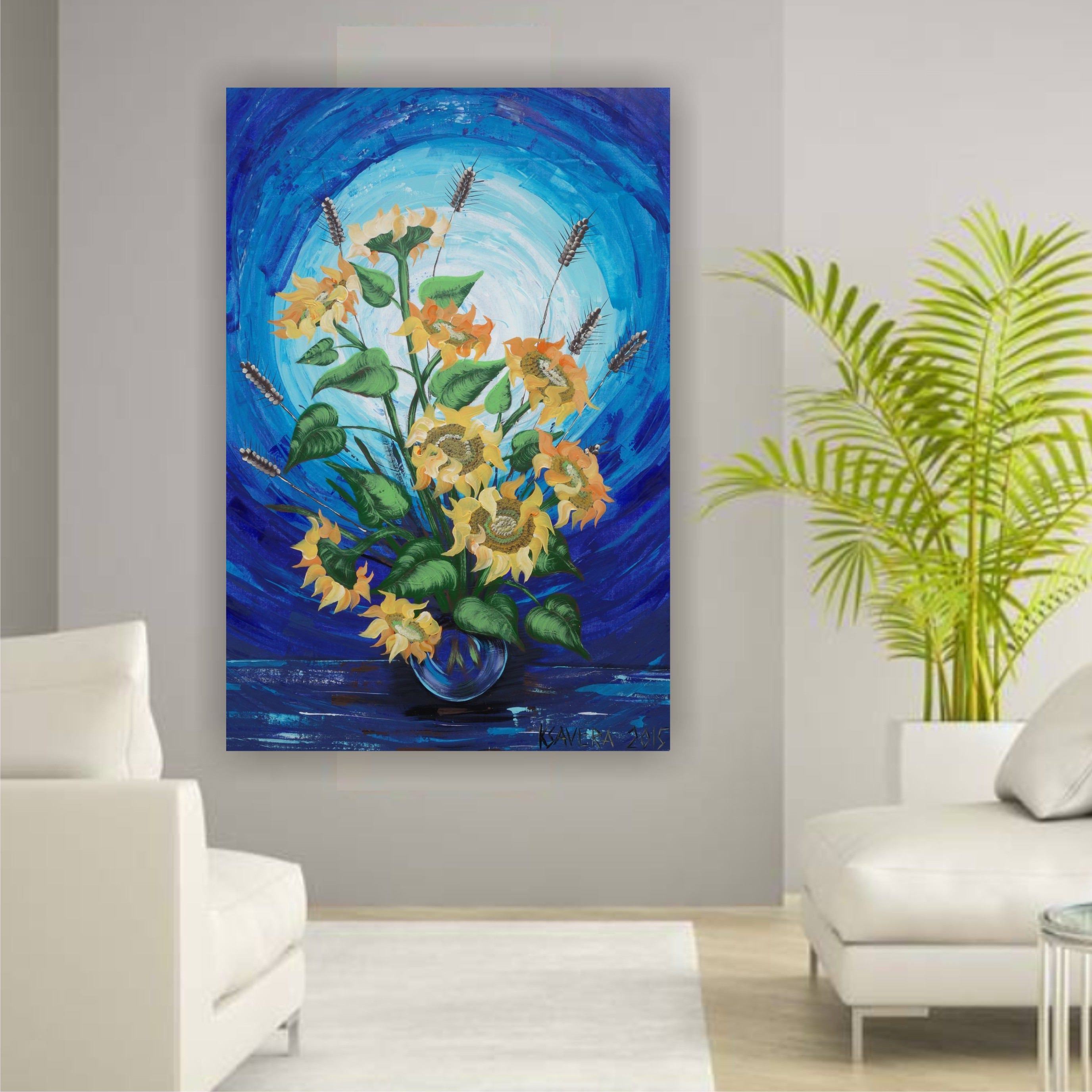 sunflowers blue painting large canvas art 44x64 modern acrylic original extra large wall art on. Black Bedroom Furniture Sets. Home Design Ideas