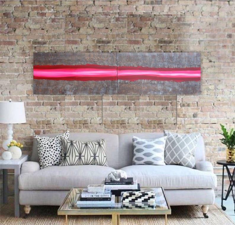 38461d0e19b4b6 Pink rusty metal Abstract Painting vertical textured wall art