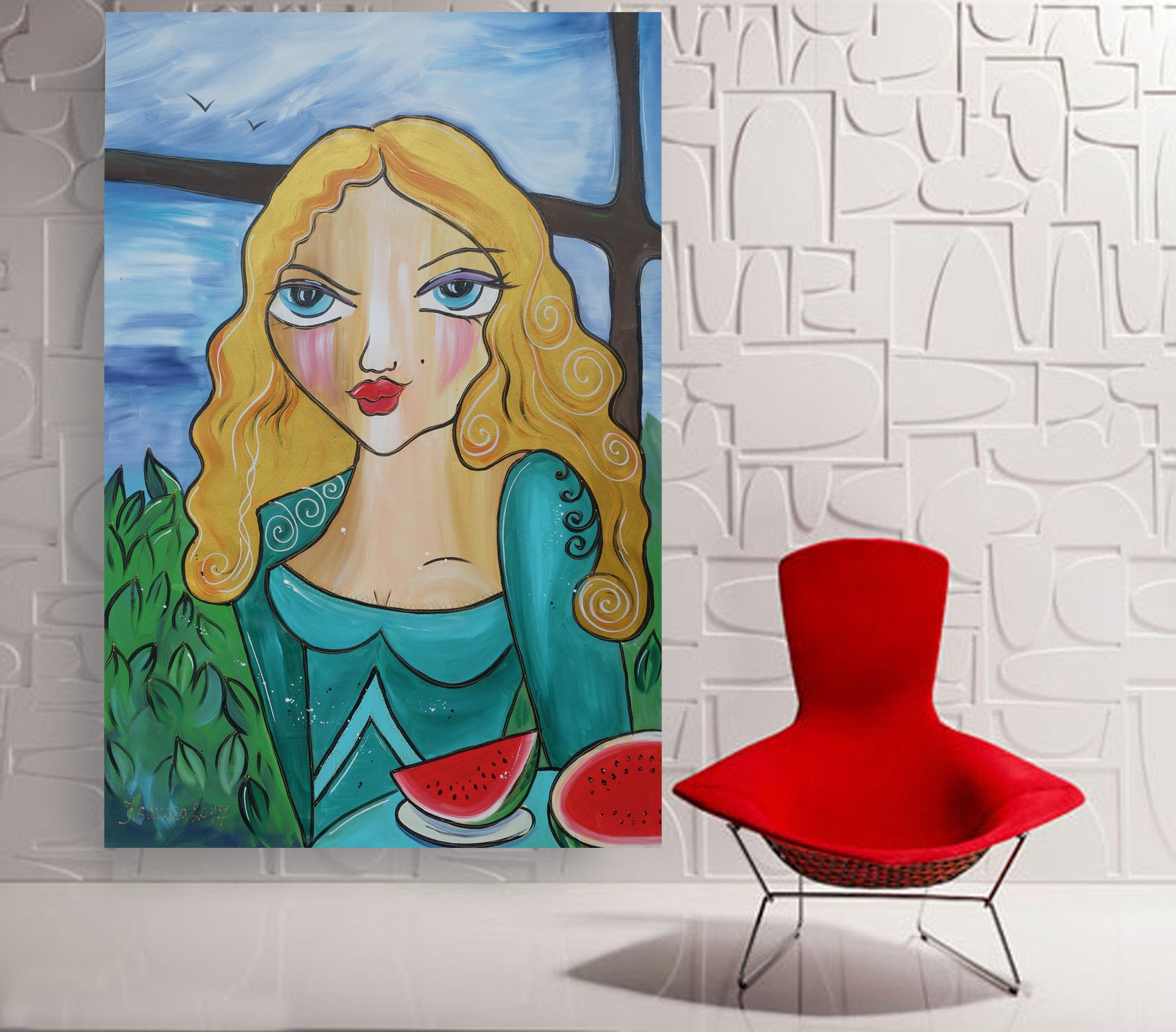 girl with a watermelon portrait large acrylic painting 110x160 cm unstretched canvas f144 art. Black Bedroom Furniture Sets. Home Design Ideas