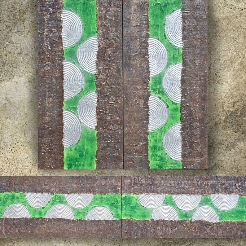 bc078db148b8f1 Green rusty metal Abstract Painting vertical textured wall art