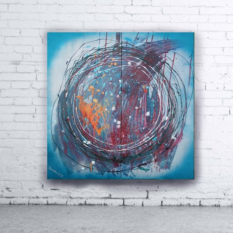 ec1a3e67fc7e87 Blue Abstract Painting contemporary wall art A212 Acrylic