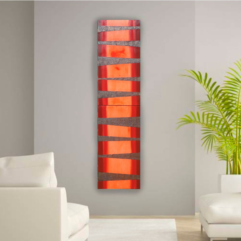 fc2495f808b6ee Neon orange rusty metal Abstract Painting vertical textured