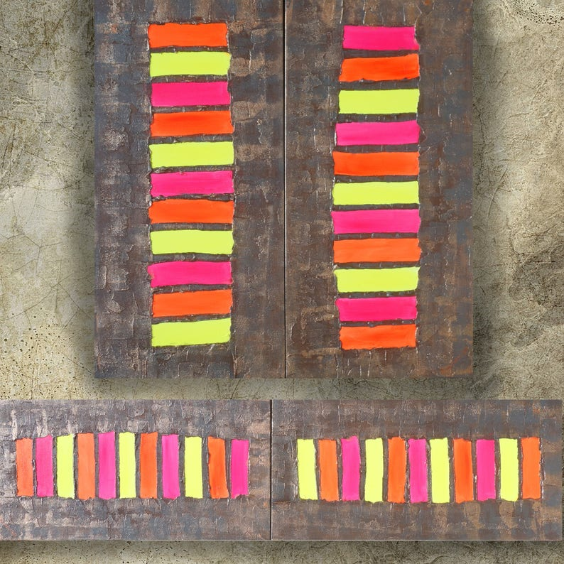 16e54084f97706 Neon rusty metal Abstract Painting vertical textured wall art