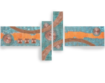 Copper patina paintings modern art A2911/02 Abstract textured Painting Acrylic Contemporary Art for Lounge or above sofa by artist Ksavera