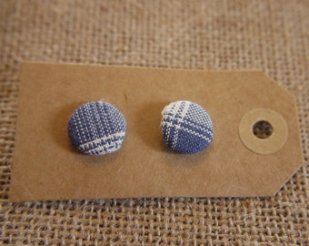 Checkered Blue Button Earrings 15mm