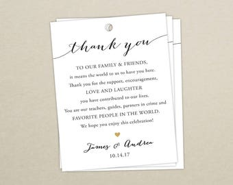Set of 10 - Thank You Tags for Wedding Hotel Welcome Bag - Destination Wedding Tags - Wedding Welcome Bag Tags - Thank You - Gift Bag Tag