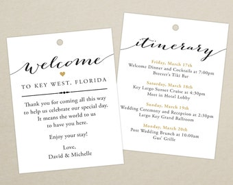 Set of 10 - Double-Sided Gift Tags for Wedding Hotel Welcome Bag - Destination Wedding Bag Tags - Thank You - Itinerary, Schedule of Events