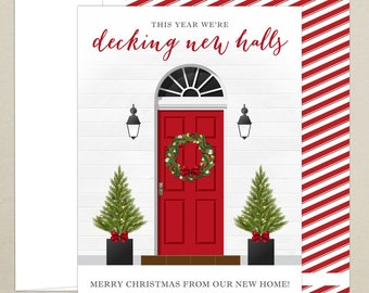 holiday card just moved new address new home photo christmas card decking new halls personalized family card digital or printed