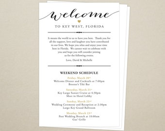 Itinerary Cards for Wedding Hotel Welcome Bag - Printed Schedule - Destination Wedding - Welcome Bag Card - Thank You - Wedding Weekend