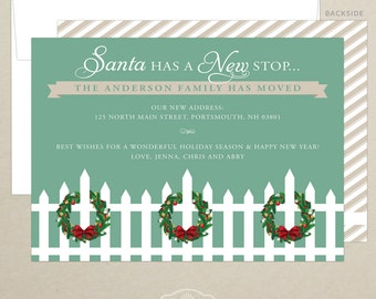 holiday card santa has a new stop just moved new address photo christmas card personalized family card digital or print