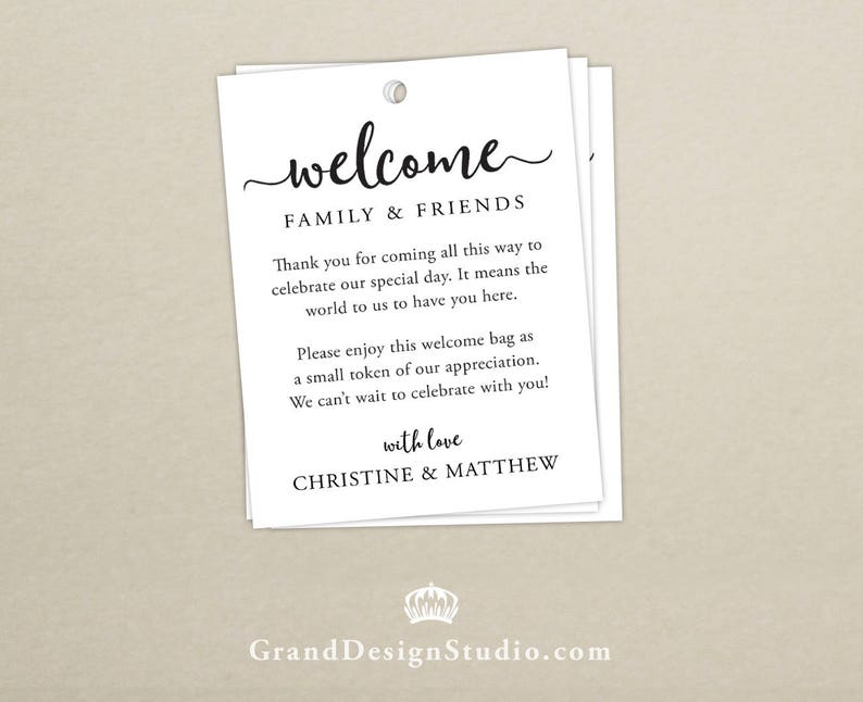 Wedding Welcome Bag Tag SET OF 10  Script Gift Tags for image 0