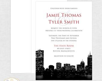 Boston Wedding Invitations - Boston Skyline Invite - Wedding Invitation - City Skyline - Invitation and Response Card