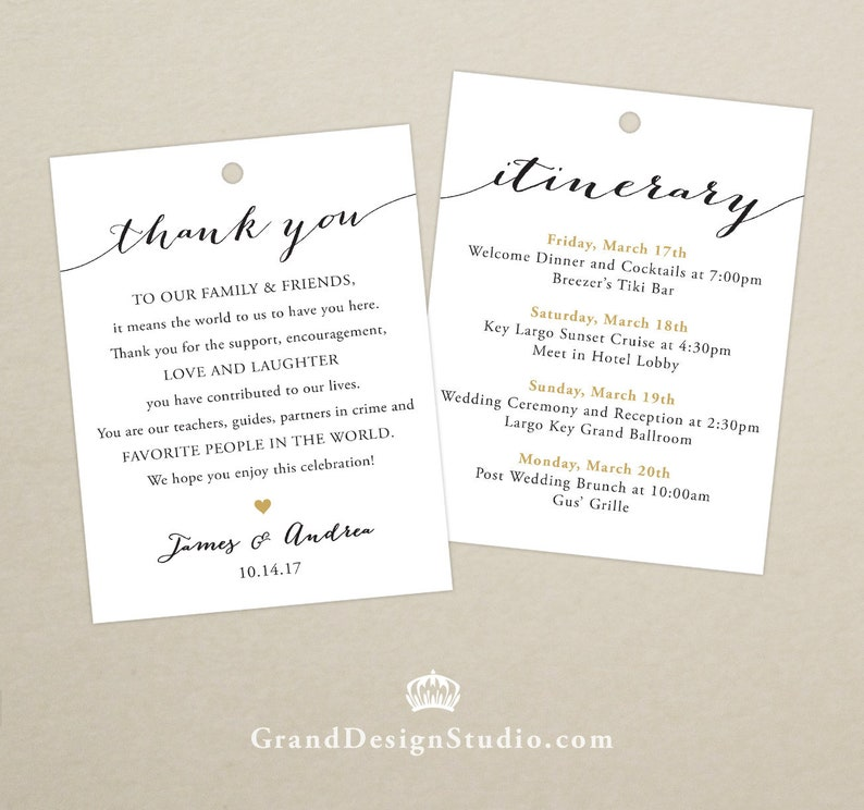 Wedding Itinerary Welcome Bag Tag SET OF 10  Script Thank image 0