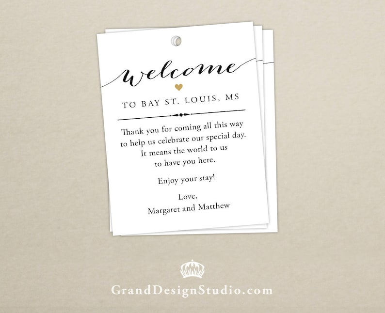 Wedding Welcome Bag Tag SET OF 10  Script Heart Gift Tags image 0