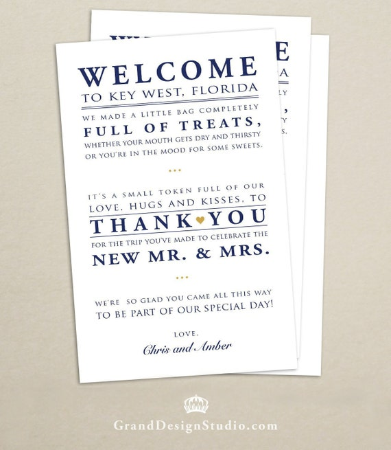 Wedding Hotel Welcome Bag Letter Wedding Welcome Bag Note Etsy