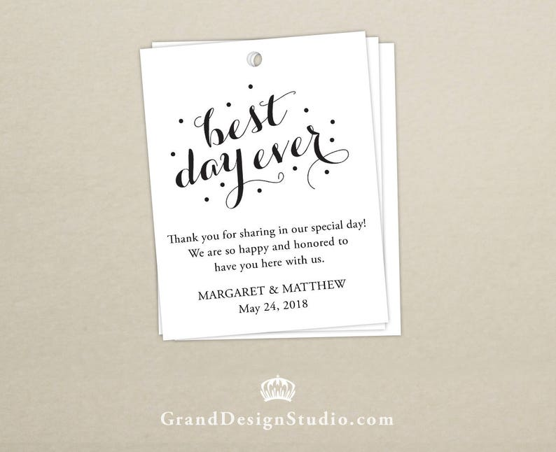 Wedding Welcome Bag Tag SET OF 10  Best Day Ever Gift Tags image 0