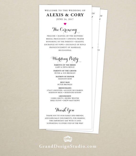 Modern Script Wedding Program Full Mass Ceremony Card