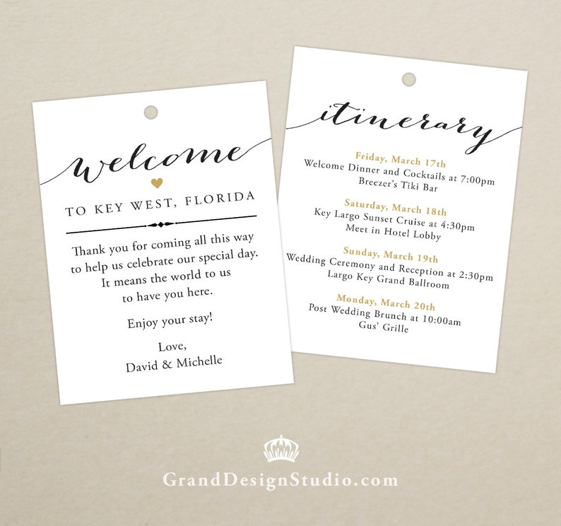Wedding Itinerary Welcome Bag Tag SET OF 10  Script Heart image 0