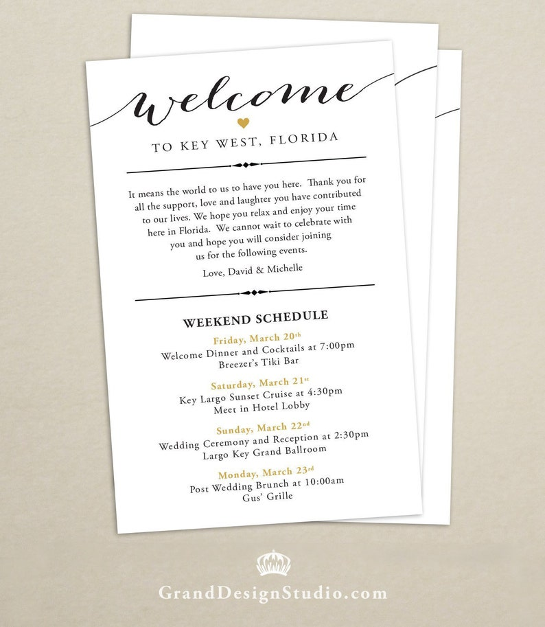 Itinerary Cards for Wedding Hotel Welcome Bag  Printed image 0