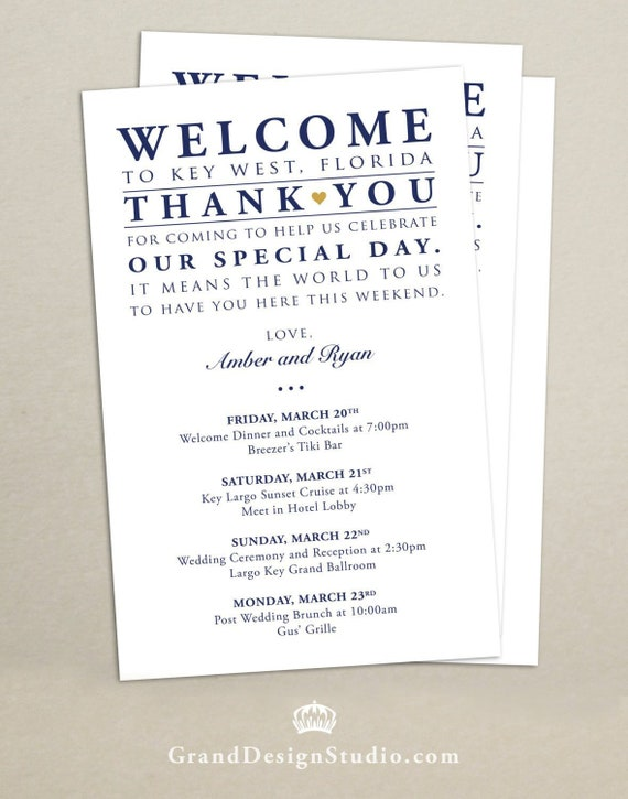 Destination Wedding Wedding Weekend Itinerary Cards for Wedding Hotel Welcome Bag Thank You Welcome Bag Card Printed Schedule