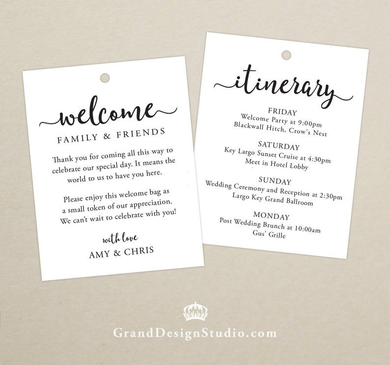 Wedding Itinerary Welcome Bag Tag SET OF 10  Script Gift image 0