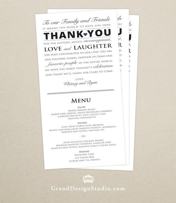 Wedding Reception Menu And Thank You Card Combo Wedding Menu Etsy