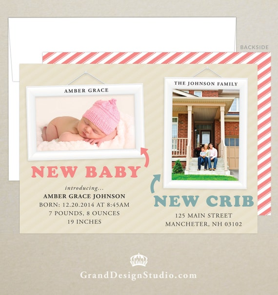 free shipping birth and moving announcement photo card etsy