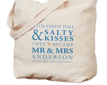 Personalized Wedding Canvas Tote Bag - Sandy Toes & Salty Kisses - Gift Bag - Bridesmaid Bag - Wedding Tote - Wedding Favor - Welcome Bag