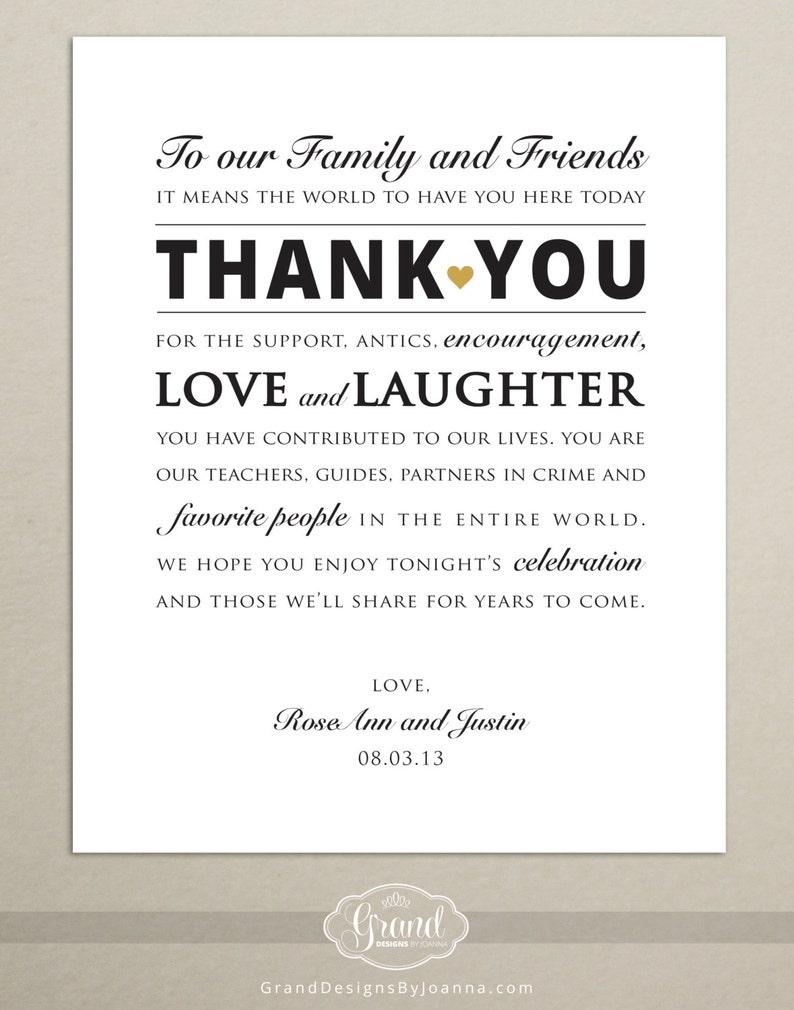 Thank You Wedding Cards.Digital File Personalized Wedding Reception Thank You Card Wedding Thank You Sign 8x10 Printable Print Ready Pdf