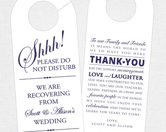 Set of 10 - Double-Sided Door Hanger for Wedding Hotel Welcome Bag - Do Not Disturb - Door Hanger and Thank You - Destination Wedding