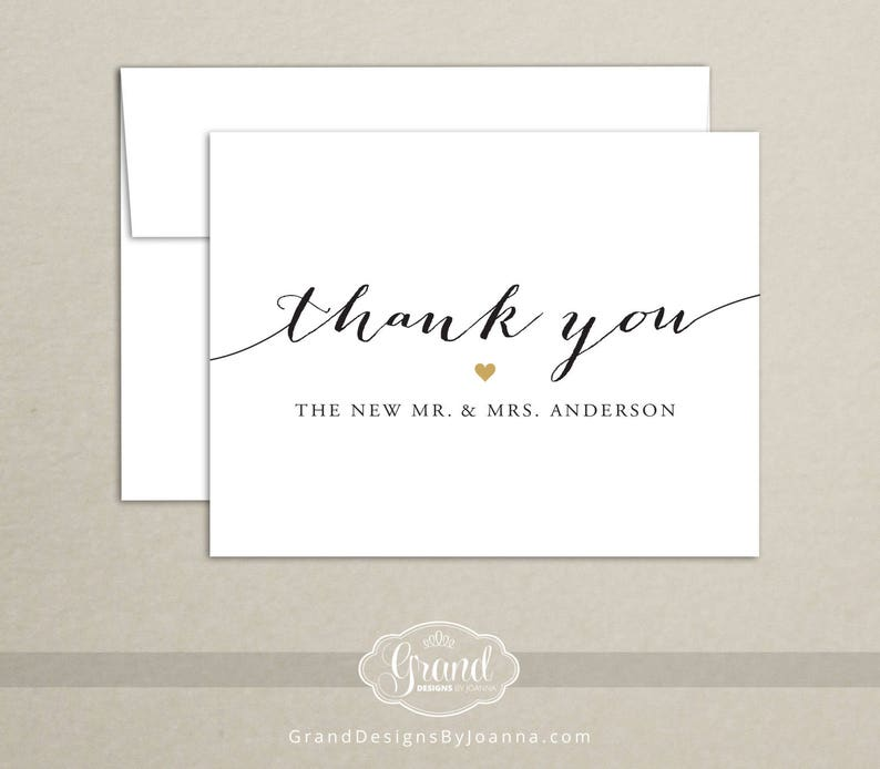 Personalized Wedding Thank You Cards Set of 10  New Mr and image 0