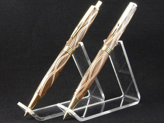 Trimline Pen and/or Pencil Set in Walnut Laminate, 24k Gold Trime