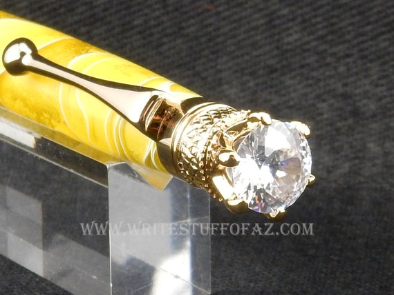 Lemon Yellow Twist Pen, Adorned with Swarovski Crystal