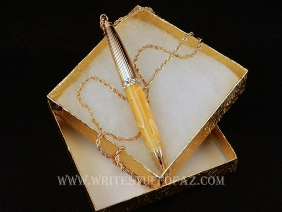 Pen Necklace in Butterscotch Yellow