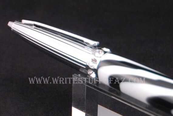 Duchess Twist Pen in Zebra Print, finished in Chrome
