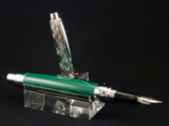 Rollerball or Fountain Pen in Banded Malachite