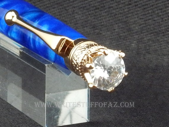 Royal Blue Twist Pen, Adorned with Swarovski Crystal