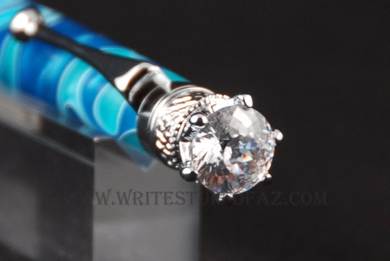 BlueTwist Pen, Adorned with Swarovski Crystal