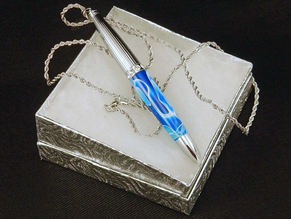 Pen Necklace in Lt Blue Swirl