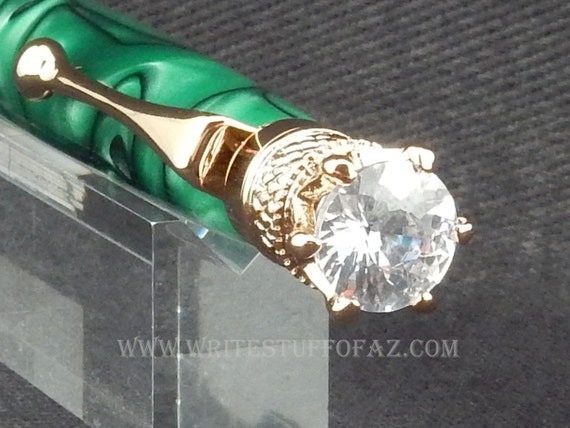 Green Twist Pen, Adorned with Swarovski Crystal