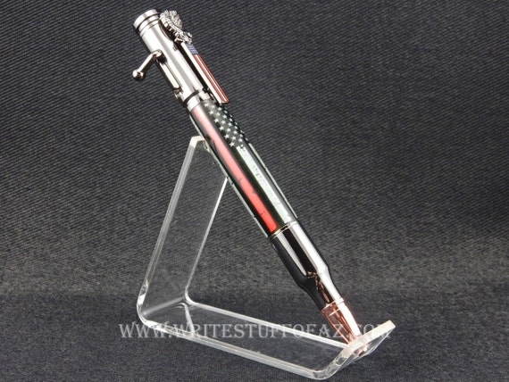 30 Caliber Bolt Action Pen - THIN REDLINE Left-Handed