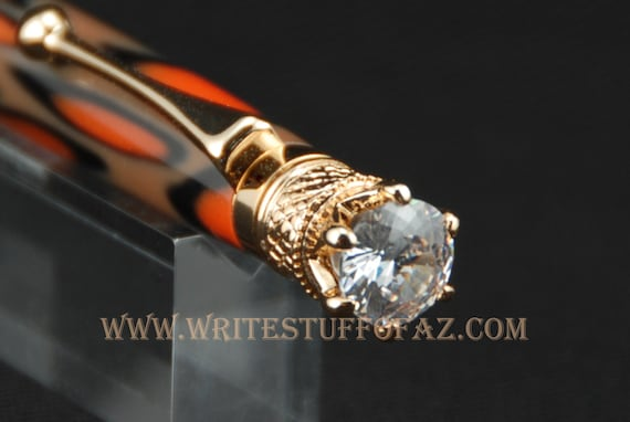 Animal Print (Leopard and Tiger) Twist Pen, Adorned with Swarovski Crystal