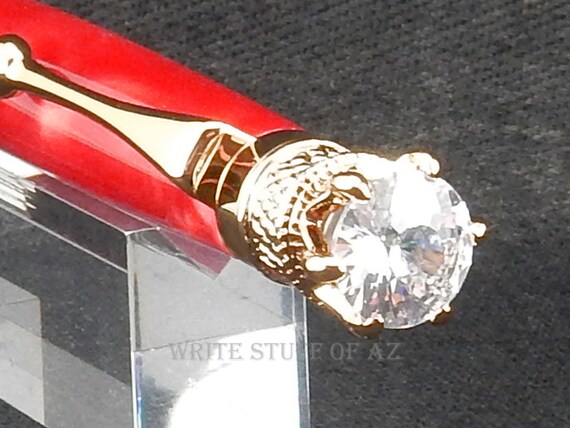 Ruby Red Satin Twist Pen, Adorned with Swarovski Crystal