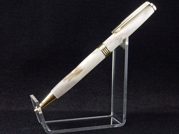 Trimline Pen in Whitetail Deer Antler, 24k Gold Trim