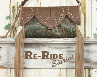 Boot Top Clutch- Taupe & Turquoise