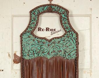 Fringe Handbag- Turquoise & Brown